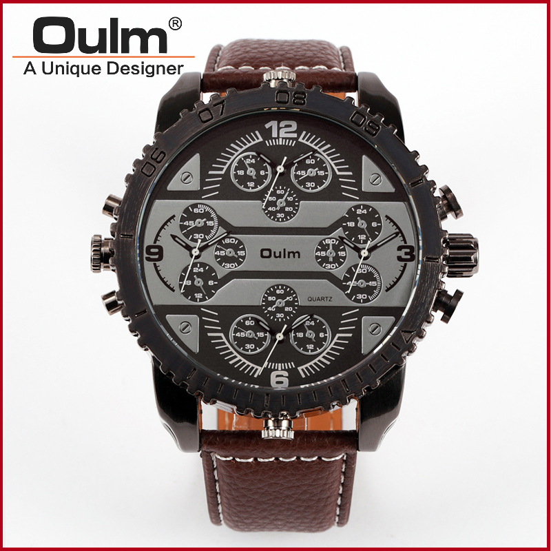 font b OULM b font 3233 Mens Big Face Watches 4 Time Zone Leather Band