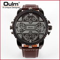 OULM 3233 Mens Big Face Watches 4 Time Zone Leather Band Casual Quartz Watch Atmospheric Dial Luxury Watches wristwatch