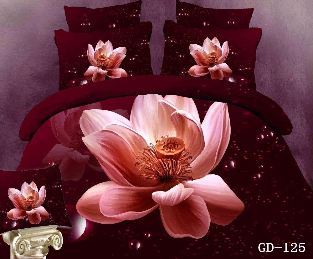 100% coton imprimé floral housse de couette queen size 3d rose literie ensemble roi plein enfants filles chambre décor 4/5 pcs drap de lit cadeau