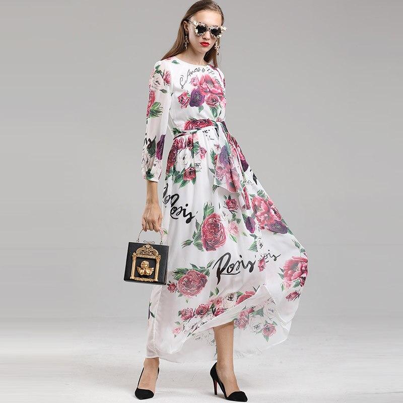 Imprimer 2018 Robe Rose Xxl Femmes Mode Fleur Dames Élégante Longue Longo De Ceintures Maxi Automne Robes Festa Partie 5tv7qvw