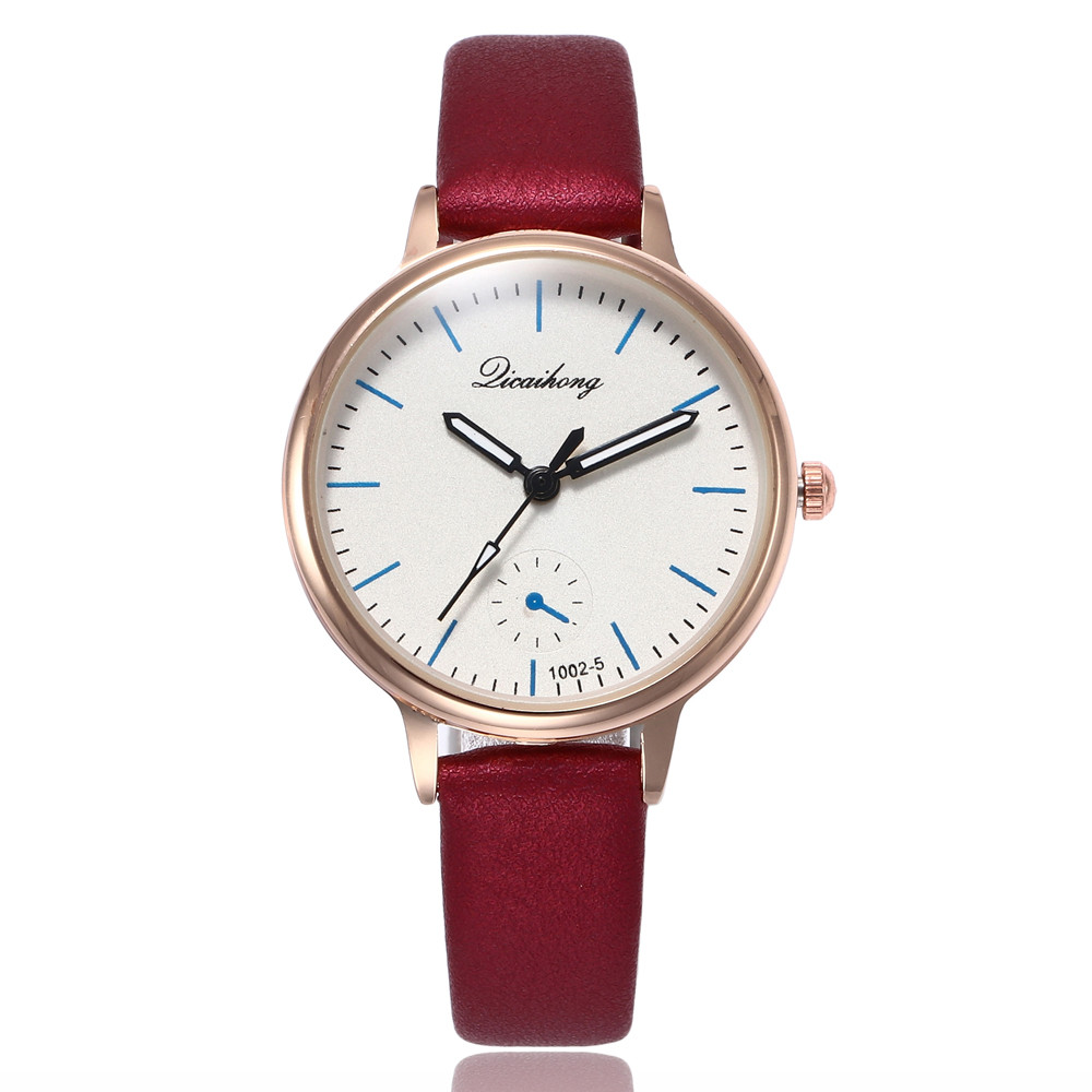 Women Fashion Leather Band Analog Quartz Round Wrist Watch Watches Pink girl heart Casual watch Real leather watches Beautiful