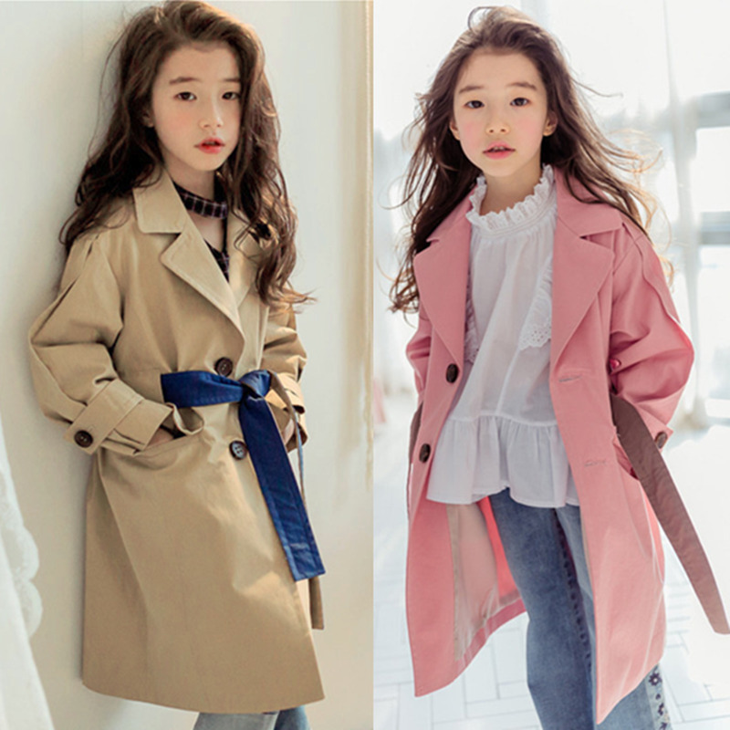 2018 New Girls jacket children's clothing girl trench coat kids jacket girl coats Winter Trench Wind Dust Hooded Outerwear blue hooded trench coat with drawstring waist