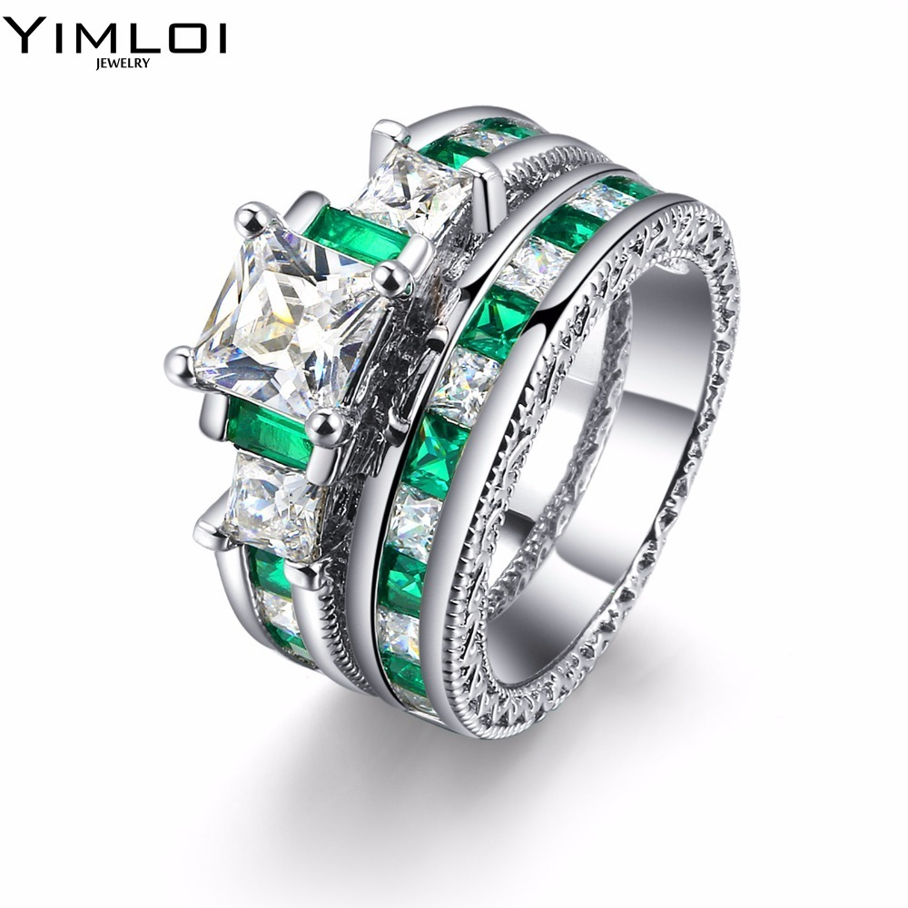 New 2017 Wedding Rings For Women Genuine Solid White Gold Color Engagement  Ring Fashion Green Zircon