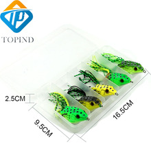 5Sets TOPIND with tackle box fishing soft plastic frogs design for saltwater and freshwater tough fishing bait lures kit