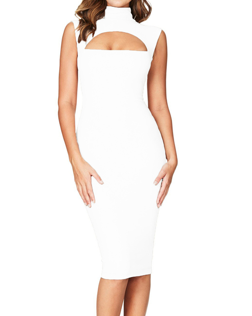 Sexy Hot Women Midi Tank Dress Solid Cut Out Front High Cowl Neck Sundress  Female Sleeveless ac664a01be
