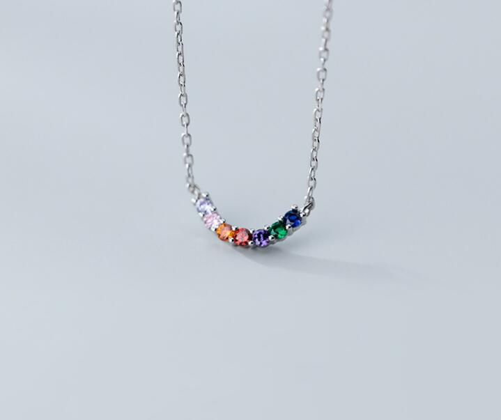 Gift 100% Real Sterling Silver 925 Fine Jewelry  Multi-Colored Colored Zirconia AAA+ Curve Arc Pendant Necklace GTLX1941