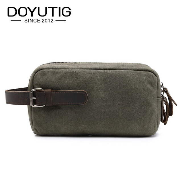 d3f67a2c2e48 Classical Army Green Men Canvas Clutch Bags With Crazy Horse Leather New  Casual Messenger Bags For Male   Female Clutch Bag G046