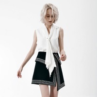Summer Fashion Elegant Pearl Beading Solid Top Women V Neck Sleeveless Tie Neck Bow Irregular Blouse