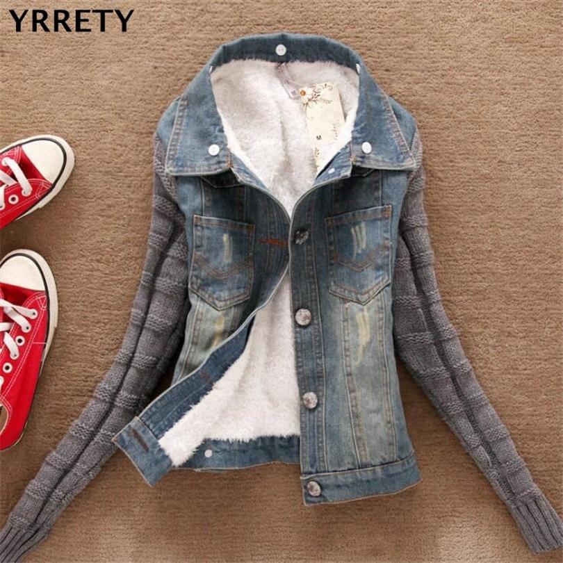 YRRETY New Autumn Winter Thick Basic Jackets Lambs Wool Denim Jacket Female Korean Slim Plus Cotton Velvet Jacket Casual Style