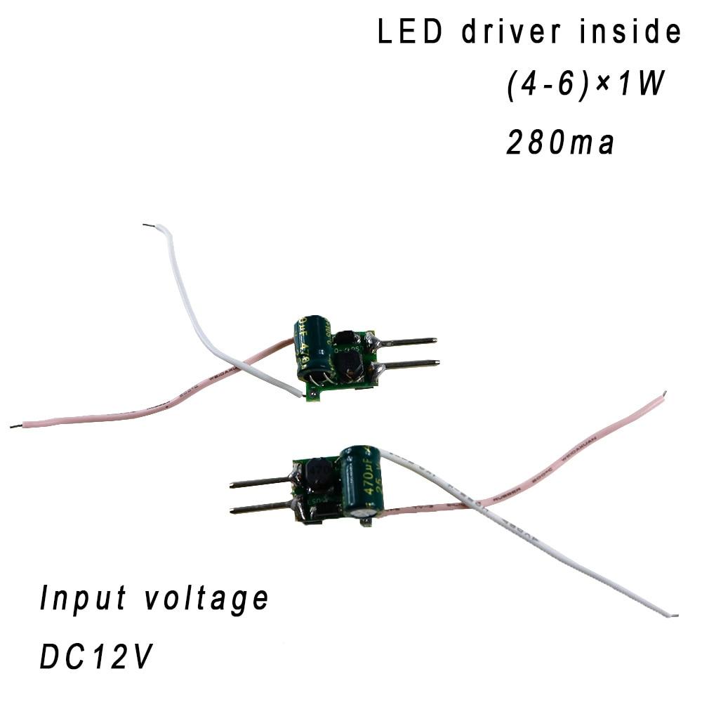 5PCS (4-6)x1W 280ma 12V inside <font><b>led</b></font> driver constant current for 4W 5W 6W indoor <font><b>led</b></font> bulb lamp lighting with MR16 <font><b>LED</b></font> Driver <font><b>2pin</b></font>