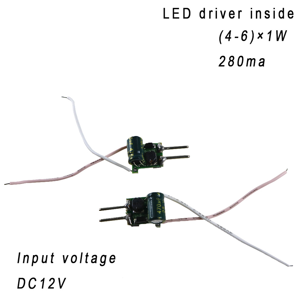 5PCS (4-6)x1W 280ma 12V inside led driver constant current for 4W 5W 6W indoor led bulb lamp lighting with MR16 LED Driver 2pin