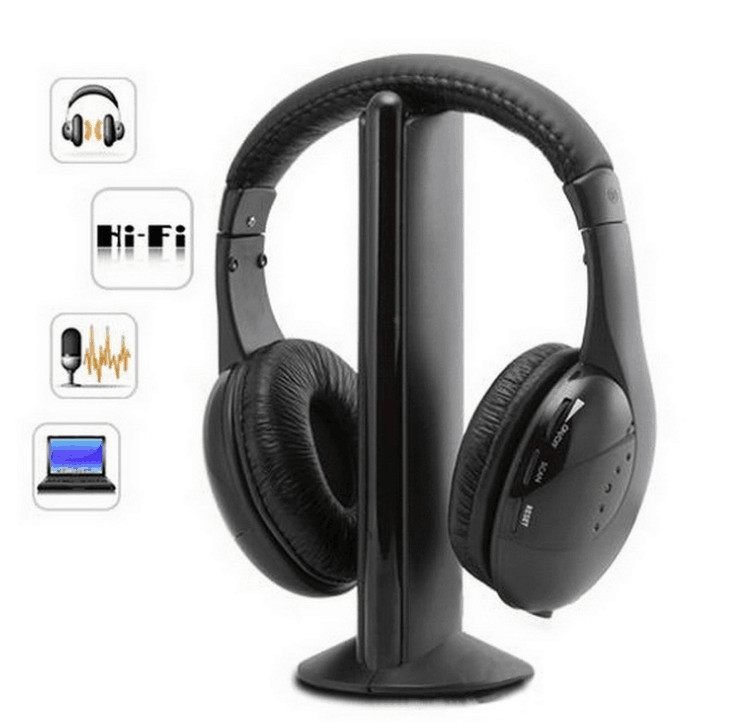 Headsets MH2001 5 in1 HIFI Wireless Headphones TV/Computer FM Radio Earphones High Quality with Microphone-in Headphone/Headset from Consumer Electronics