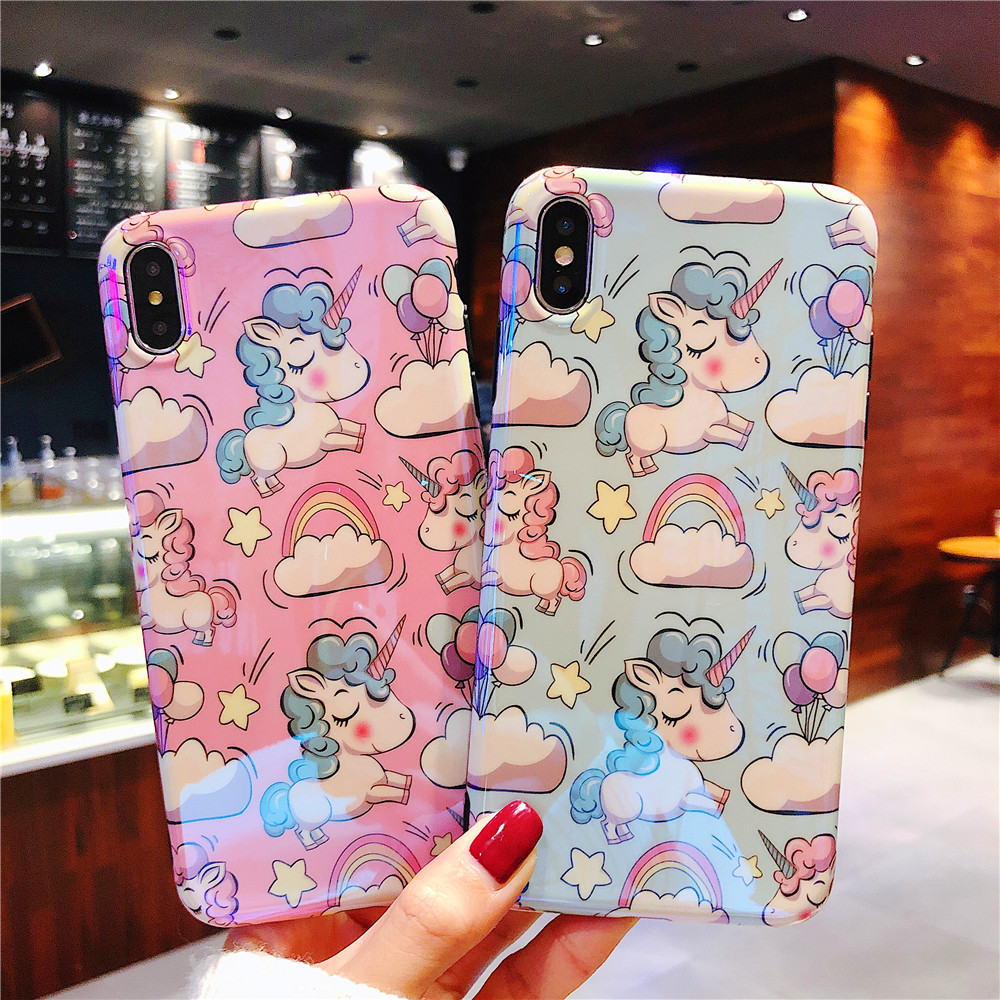 XS Max Case For iPhone XR X cover Kawaii Unicornio Patterned Fundas Cartoon TPU Back Shell for iPhone 8 7 Plus 6S 6 Plus Coque