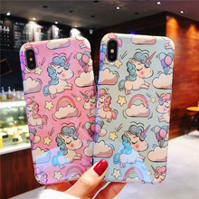 XS Max Case For iPhone XR X cover Kawaii Unicornio Patterned Fundas Cartoon TPU Back Shell for iPhone 8 7 Plus 6S 6 Plus Coque shooting stars patterned protective tpu back case cover for iphone 6 plus black multi colored