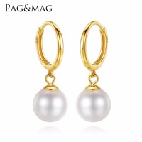 PAG&MAG 18k Gold Circle Earrings Natural Pearl Drop Earrings 6.5 7mm 18k Yellow Gold Charm Earrings High Quality Brand Jewelry