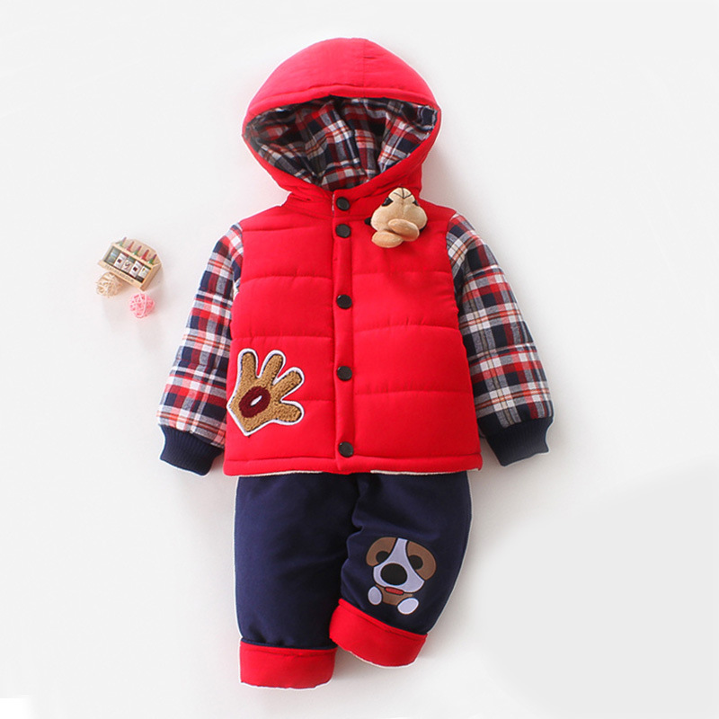 Winter Baby Boy Coats Pants Set Baby Thick Cotton Padded Jacket and Pants Suit 1-2-3 Years han edition printing cotton padded jacket is beautiful and comfortable small cotton padded jacket of cultivate one s morality
