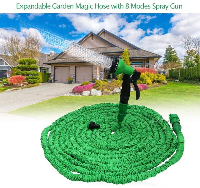 3 Color Expandable Garden Hose Flexible Spray Gun Pipe Plastic Watering Hose With 8 Spray Gun 100FT/75FT/50FT/25FT