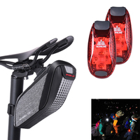 Bike Tail Bag Saddle Reflective Pouch Rear Pack Panniers with 2pcs Waterproof Safety Cycling Rear Light Mini LED Running Light