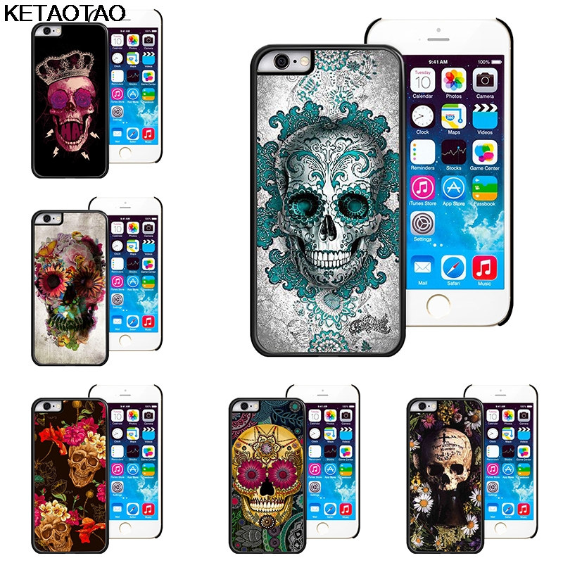 KETAOTAO Fresh personality flowers skull head Phone Cases for iPhone 4S SE 5 6 5C 5S 6S 7 8 Plus X Case Soft TPU Rubber Silicone