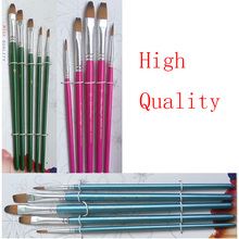 High Quality 5pcs Nylon Hair Paint Brush Set Artist Brushes Flat Tipped Different For Watercolor Acrylic Brushes Art Supplies