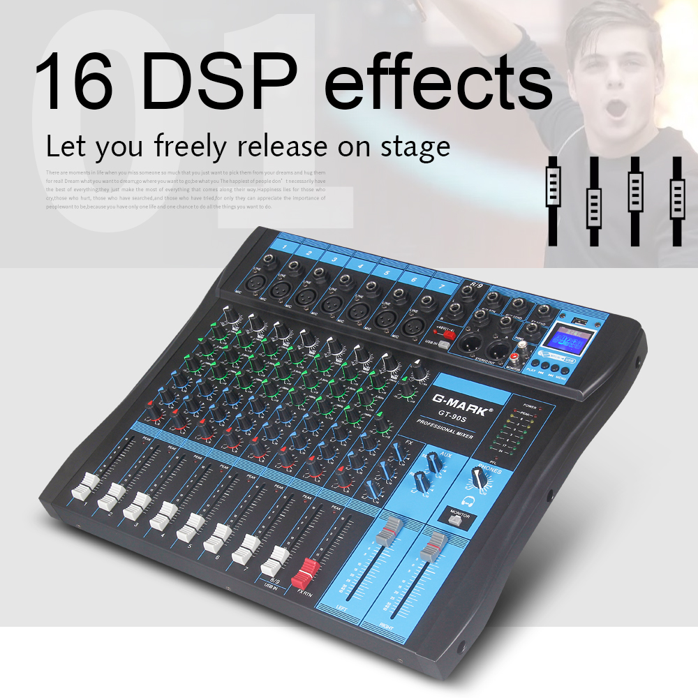 G MARK GT90S Audio Mixer with USB DJ Sound Mixing Console MP3 Jack 9 Channel Karaoke 48V Amplifier For Karaoke KTV Match Party in Stage Audio from Consumer Electronics