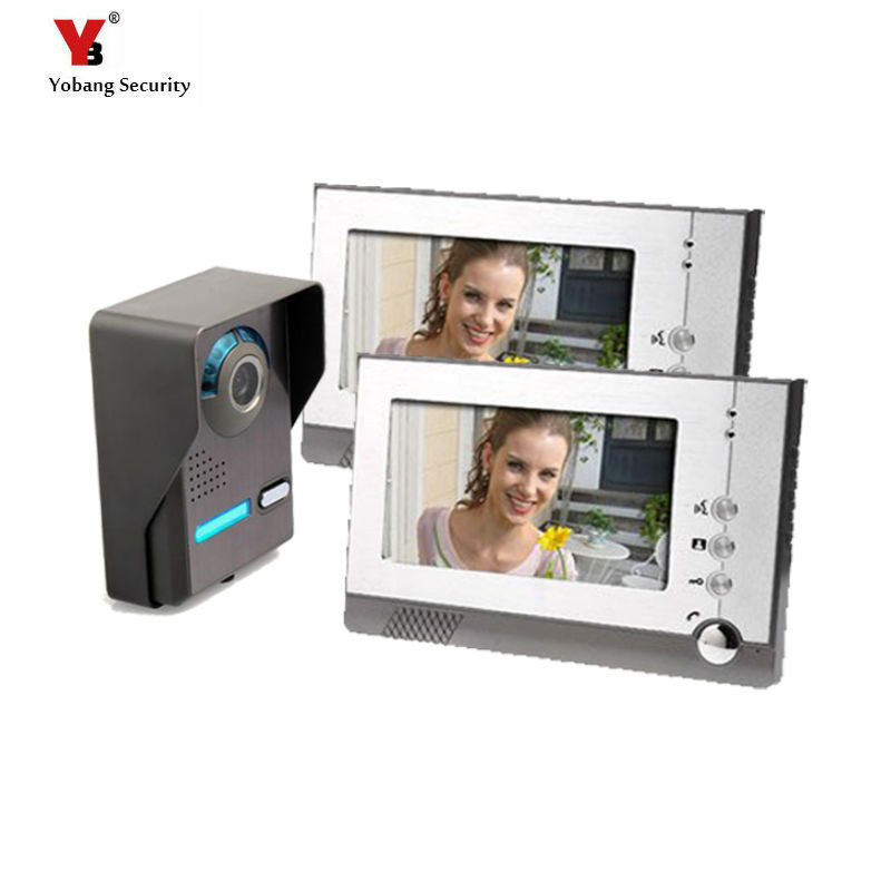 Yobang Security 7Hands-free Video intercom speakerphone Wired Video Door Phone 1 camera+2 monitors LCD Monitor for villa freeship 10 door intercom security system hands free monitor color tft lcd screen intercom system video door phone for villa