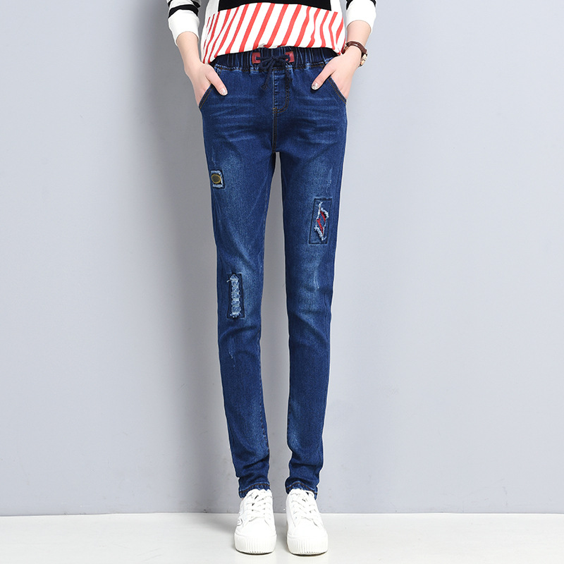 ФОТО Hole Ripped Jeans Women Pants Cool Denim Vintage Straight Jeans For Girl Mid Waist Casual Pants Female