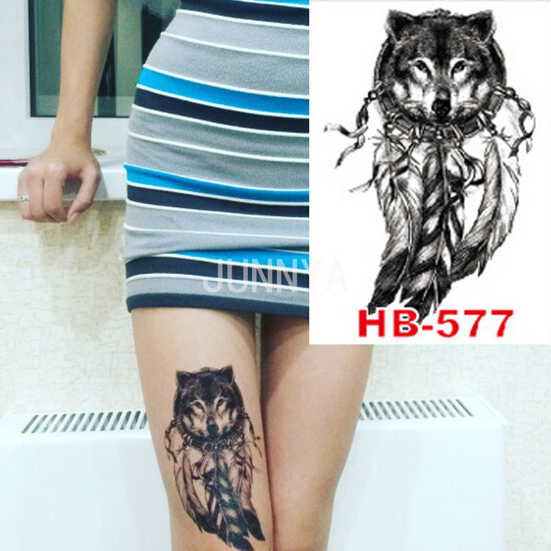 Womens Wolf Tattoo Thigh Tattoos Women Wolf Womens Thigh: 21x15cm Tattoo Wolf With Feather Tattoos Body Art