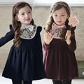 Новая зимняя девушка теплый платья для девочек платья дети дети красный синий плотно платье