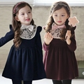 New Winter Girl warm Dresses baby Girls dresses Children kids Red Blue tight dress