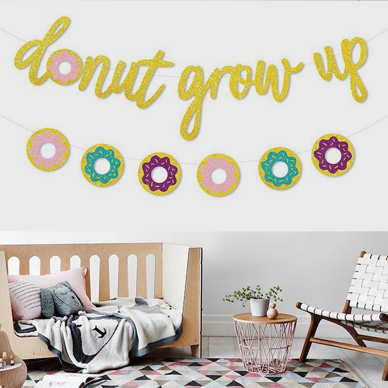 Glitter Paper Birthday Party Hanging Bunting Banner Flag: Creative Glitter Paper Donut Grow Up Bunting Banner
