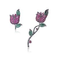 XIUMEIYIZU Fashion Fine Jewelry AAA Cubic Zirconia Red Rose Fiore Brincos Climber Dell'orecchio Orecchini di Clip Del Polsino Regalo Delle Signore Delle Donne