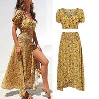 Slim High Waist Two Piece Dress Set 2019 Women Summer Printed Short Tops And Side Slit Long Dress 2 Piece Dress Set Yellow Dress