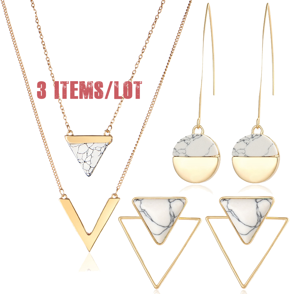 IF ME 3 Items/Lot Trendy Geometric Marble Stone Jewelry Set for Women Triangle Round V Pendant Necklace Earring Piercing Jewelry