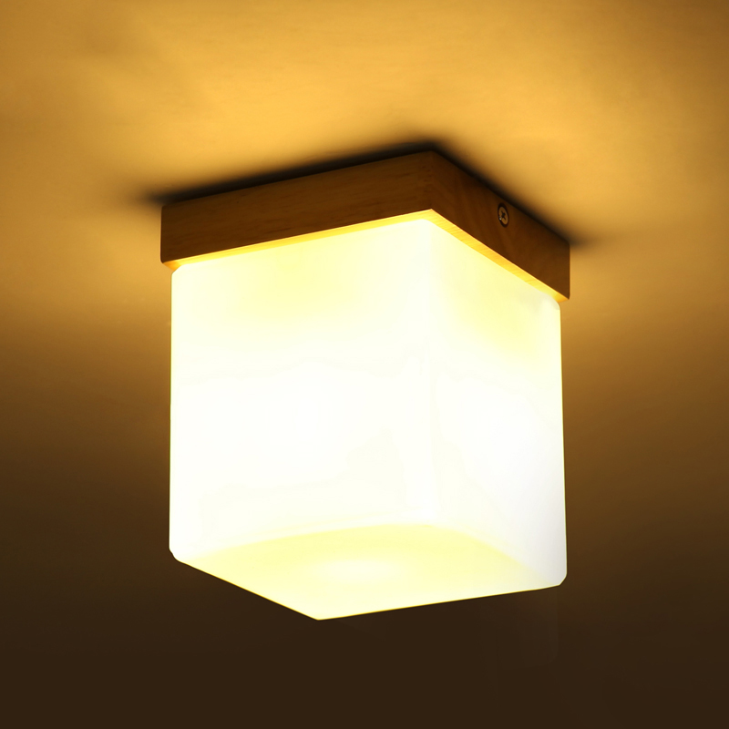 Simple Style Ceiling Light Wooden Porch Lamp Square Balcony Corridor Lights