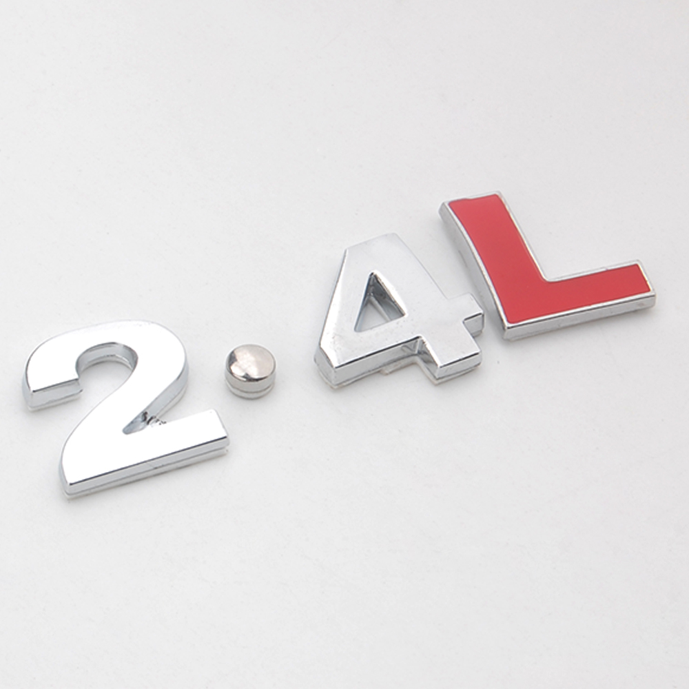 Chrome 3d metal 2 4l emblem badge decal sticker turbo engine rear trunk fit for toyota honda camry lexus es240 buick mitsubishi in car stickers from