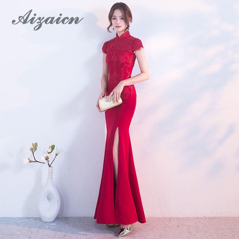newest 39de3 0518f Moda Sposa Rosso Della Sirena Abiti Da Sera Cinese Lungo Cheongsam Sexy  Vestido Oriental Tradizionale Abito Da Sposa Delle Donne Qipao
