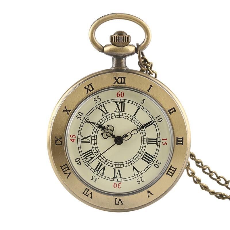 Antique Retro Transparent Brown Men Women Quartz Pocket Watch Cover Necklace Chain Graceful Pendant Clock Best Gifts For Lovers