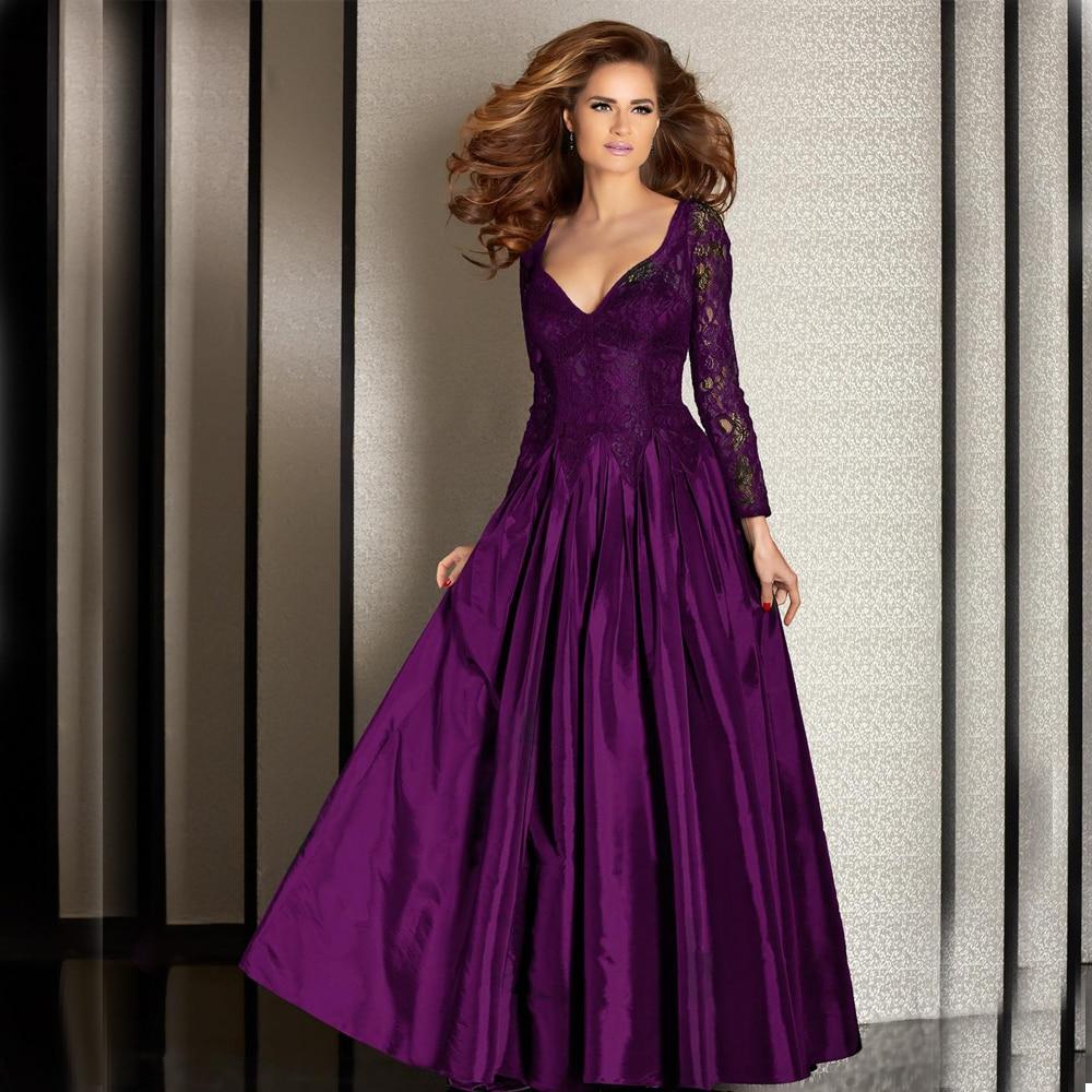 M5004 A Line Dark Black Green Satin Evening Gown Plus Size Purple