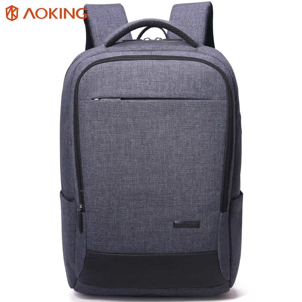 Aoking New Nylon Grey Men Backpack Large Mochila for Laptop 14-15 Inch Notebook Computer Bags Men Backpack School Rucksack