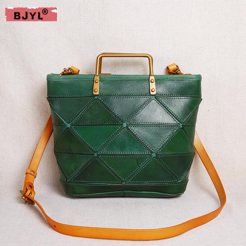 BJYL new Genuine leather women handbag original handmade female shoulder Messenger bag stitching art retro small crossbody bags все цены