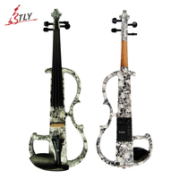 Kinglos Advanced Electric Art Full Size Violin Skull Painted Solid Wood Silent Violin 4/4 Ebony Fittings w/ Parts(DSG 1312)