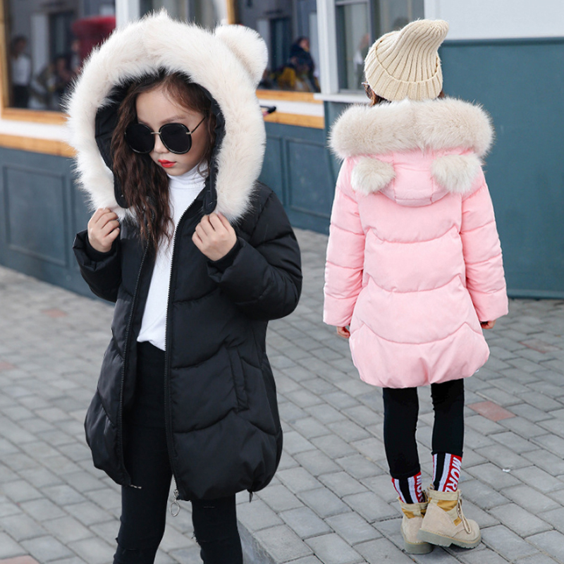 2018 New Girls Long Padded Jacket Children Winter Coat Kids Warm Thickening Hooded down Coats For Teenage Outwear 2017 new winter fashion women down jacket hooded thick super warm medium long female coat long sleeve slim big yards parkas nz18
