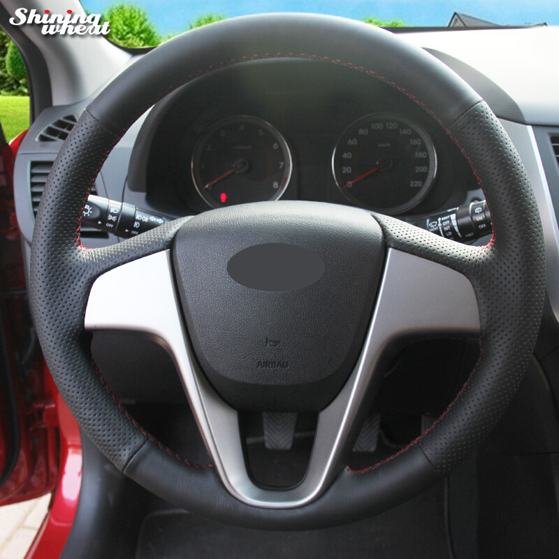 Shining wheat Black Genuine Leather Steering Wheel Cover for Hyundai Solaris Verna I20 Accent