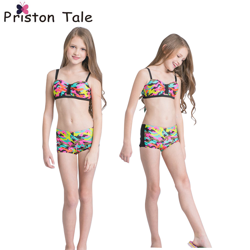 2017 Hot Sale Cute Baby Children Girl Camouflage Bikinis Swimsuit Swimwear Kids Bathing Suit Children Infantil Biquini 402 one piece swimsuit children s swimwear girl children baby swim wear kids cute swimsuits 2017 new buoyancy life biquini infantil