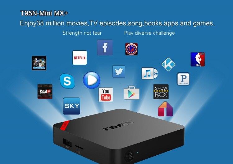 T95N 4K Amlogic S905X Quad Core Android 5.1 Smart TV Box WIFI Media Player