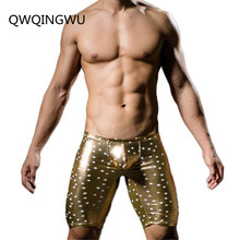 Men Boxers Star Printed Underwear Sexy Faux Leather Fashion Shorts Panties Tight Boy Satin Boxer Trunks Five Minutes
