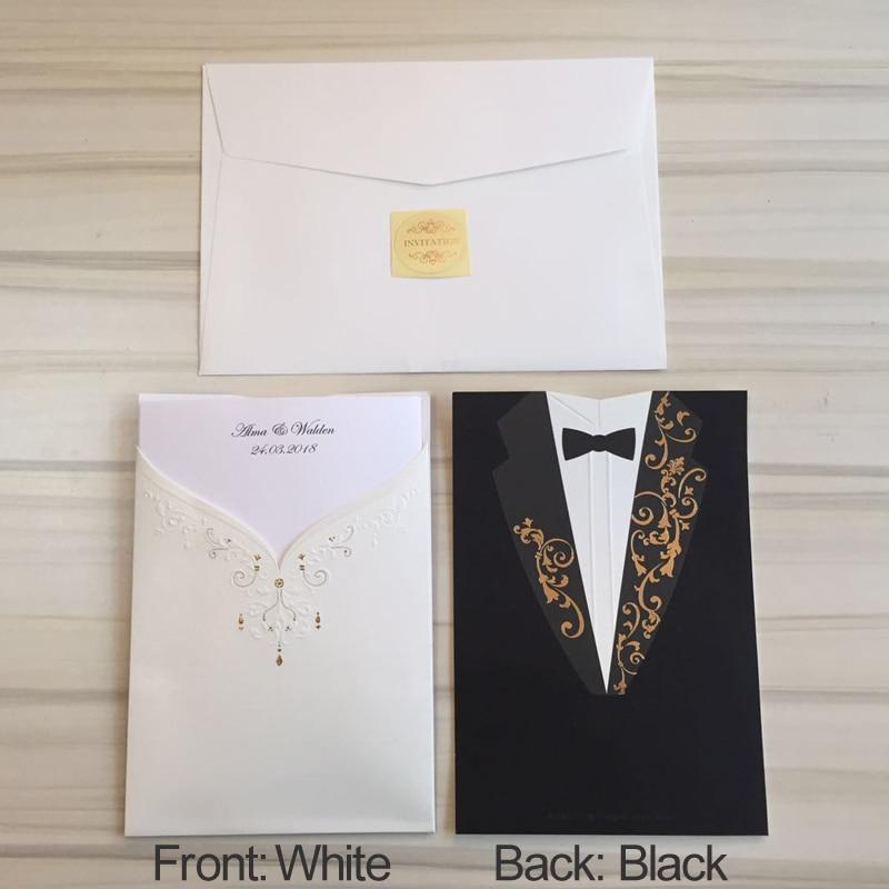50 pieces/lot) Wishmade Bride And Groom Wedding Invitation Card ...