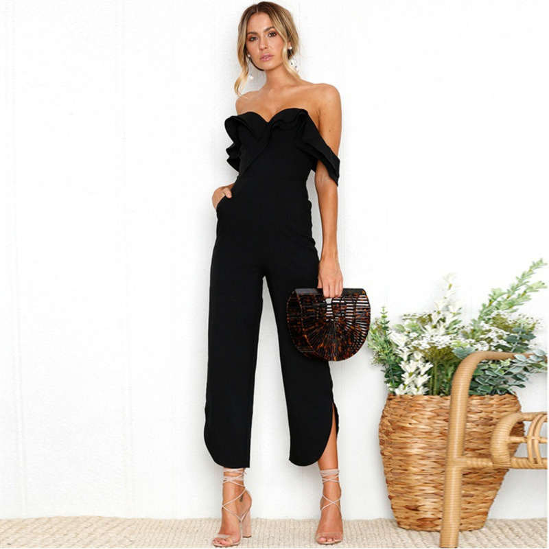 Off shoulder Elegant   Jumpsuits   Double layer Ruffle Backless Wide Leg with pockets overalls combine Monos Cortos De Mujer wy*