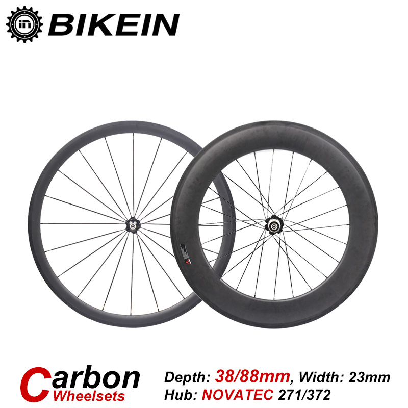BIKEIN T700 3k Carbon 700C Cycling Road Bike Wheel Clincher Tubular Front 38mm Rear 50/60/88mm Ultralight Bicycle Wheelset Parts velosa supreme 50 bike carbon wheelset 60mm clincher tubular light weight 700c road bike wheel 1380g